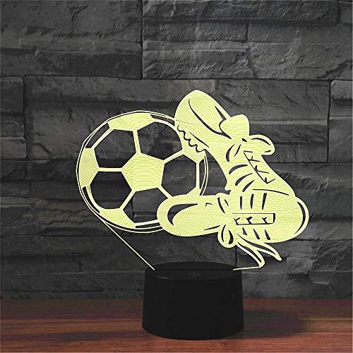 Fútbol Y Zapatos Lámpara 3D 7 Cambio De Color Usb Led Night Ligh Toy Home Dormitorio Decoración Lámpara De Mesa Sports Boy Regalo De Año Nuevo