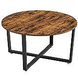 VASAGLE Table Basse Ronde, Table de Salon, Style Industriel, Cadre en Acier, Montage Facile, pour Salon, Chambre, Marron...