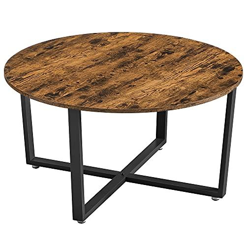 VASAGLE Table Basse Ronde, Table de Salon, Style Industriel, Cadre en Acier, Montage Facile, pour Salon, Chambre, Marron Rustique et Noir LCT089B01