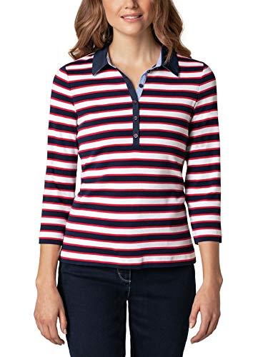 Walbusch Damen Freizeitpolo Cotton Modal gestreift Rot/Marine/Weiß 40