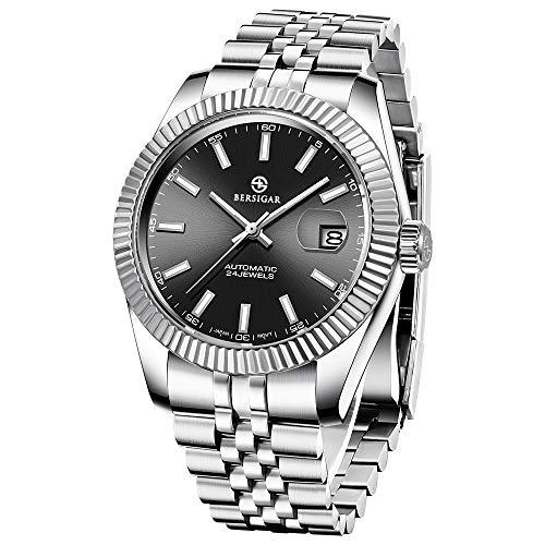 Relojes para Hombre Reloj clásico BERSIGAR Reloj analógico automático Pulsera de Acero Inoxidable Cristal de Zafiro Fashion Diver