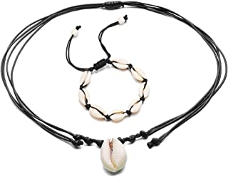 QYFH Cowrie Shell Necklace for Women Seashell Anklet Puka Bracelet for Girls Nutural Shell Earrings for Girls Handmade Hawaii Wakiki Beach Jewelry
