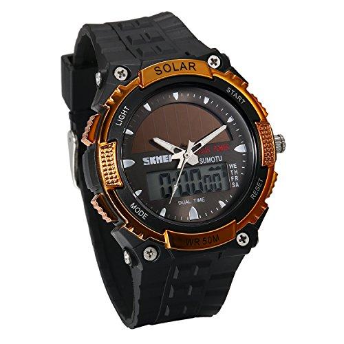 JewelryWe Reloj Deportivo Energía Solar Reloj de Hombre Digital para Aire Libre A Prueba de Agua 5 ATM, Tiempo Dual Reloj Digital Analógico con Luz del Fondo, Dorado