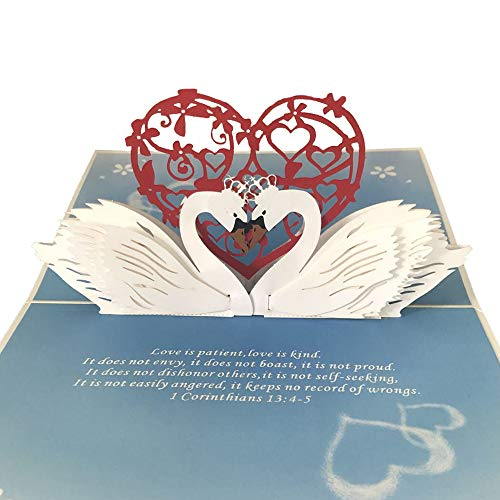 Dekali Designs Swan Pop Up Card - Christian Greeting Card With Bible Verse - Christian Anniversary Card for Him or Her - 3D Popup Wedding Card for Couple - Valentine's Day Love Card