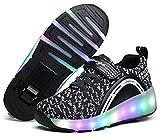 Zapatillas con Dobles Ruedas para niñas y niños Zapatos con Ruedas retráctiles con Ruedas Se Pueden Cargar Zapatos con luz LED Zapatillas Deportivas al Aire Libre