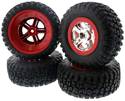 Set of Four BF Goodrich Mud Terrain Tires Pre-Glued on SCT Chrome, Red Beadlock-Style Wheels for 2WD