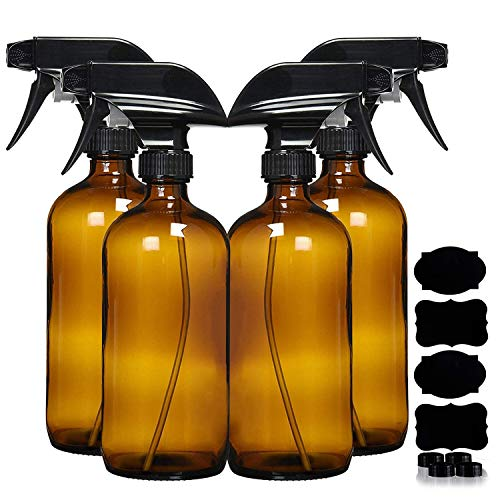 Empty Amber Glass Spray Bottles (4 Pack) - 16oz Refillable Container for Essential Oils, Cleaning, Aromatherapy - Trigger Sprayer w/Mist and Stream Settings (16 OZ, Amber)