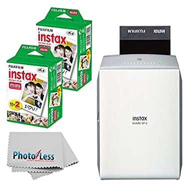 NEW Fujifilm instax SHARE Smartphone Printer SP-2 (Silver) + Fujifilm Instax Mini Twin Pack Instant Film (40 Shots) + Photo4Less Cleaning Cloth + Filming Bundle - International Version (No Warranty)