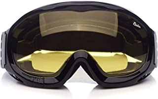 'Fit Over Glasses' Anti-fog Riding Goggles with Sponge Liner Adjustable Elastic Headband (Yellow Lens Brighter)