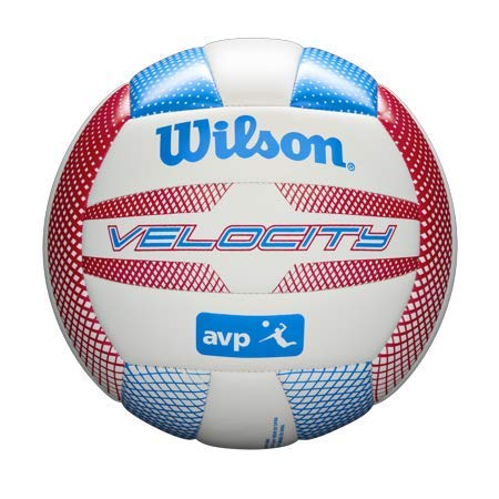 Wilson - AVP Velocity Volleyball - Beach Recreational Ball - Official Size (Red/Blue)