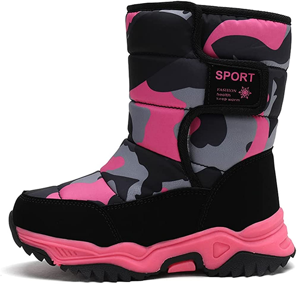 Great Flyor Boys and Girls Snow Boots Winter Waterproof Slip Resistant Cold Weather Shoes