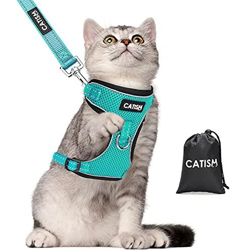 Katzengeschirr CATISM Katzenleine mit Leine Geschirr mit Reflektierenden Streifen Katzen Ausbruchsicher Katzengarnitur Ausbruchsicher Verstellbar Katzenweste Kaninchengarnitur Katze und Hunde Blau
