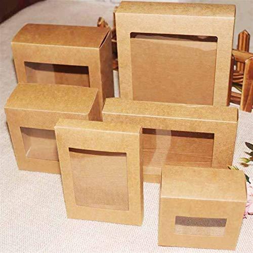 N\A Bolsas de Regalo, 10 PCS DIY Vintage Color Kraft Paper Box Box Box with Borre PVC Window Candy Favors Favores Arte y Krafts Mostrar Cuadro de Paquete