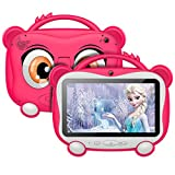 Tablet per Bambini 7 Pollici, Android 10.0 OS con GOOGLE GMS, 16 GB di Memoria, Supporto 128 GB Espandibile | WiFi 2.4 Ghz | Bluetooth 4.0 | Batteria da 3000 mAh | con Kid-Proof Custodia, Rosa