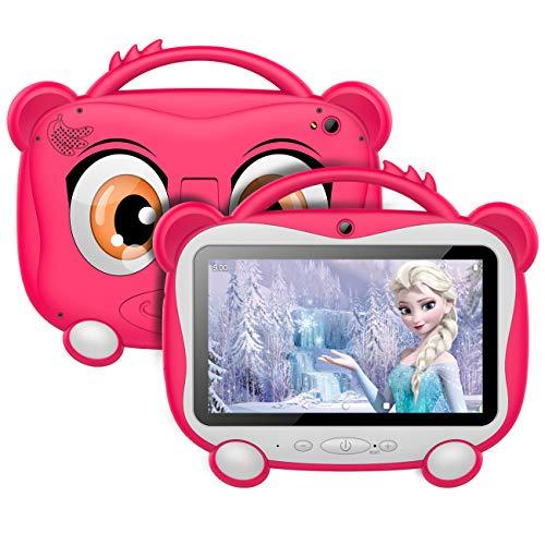 Tablet per Bambini 7 Pollici, Android 10.0 OS con GOOGLE GMS, 16 GB di Memoria, Supporto 128 GB Espandibile | WiFi 2.4 Ghz | Bluetooth 4.0 | Batteria da 3000 mAh | con Kid-Proof Custodia, Rosa