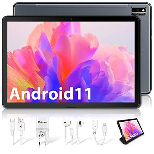 Blackview Tab10 Tablette Tactile Android 11, Tablettes 10.1 Pouces FHD+, Octa-Core 4Go+64Go(SD 128Go), Batterie 7480mAh Tablette PC, Double SIM 4G LTE+5G WiFi, Caméra 13MP+8MP, Bluetooth 5.0, OTG