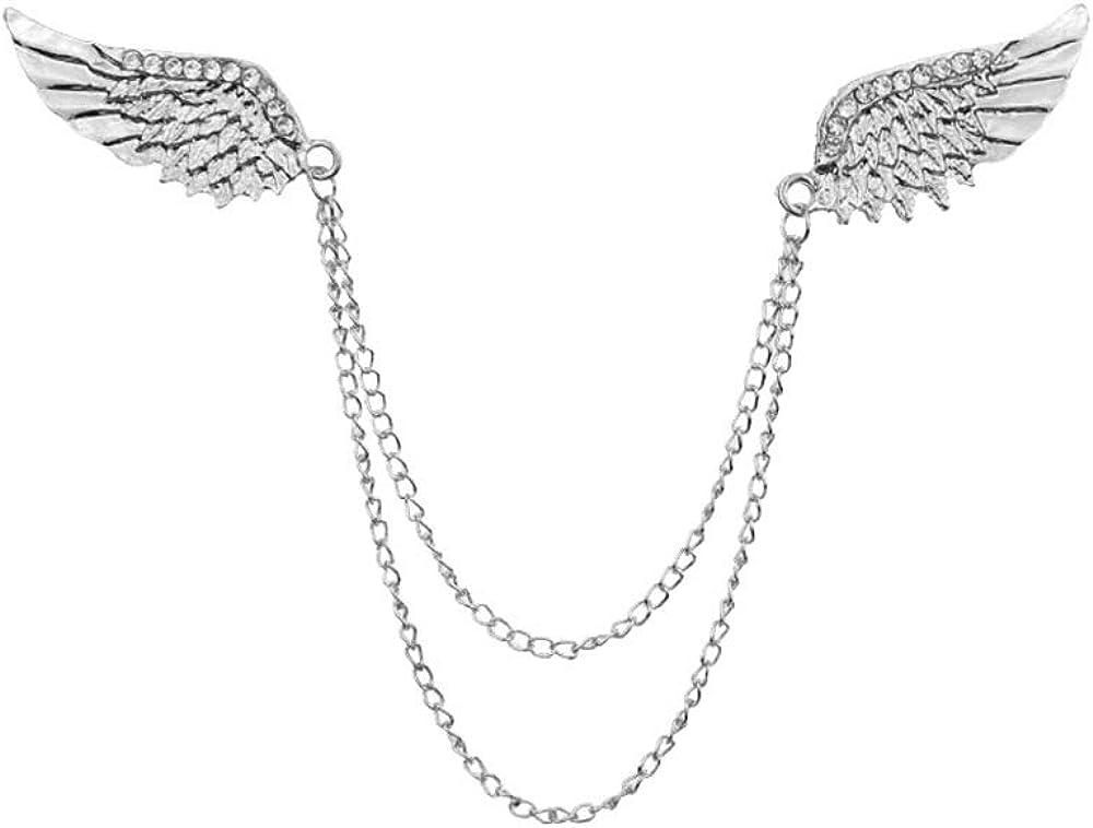 Fashion Deer Head Elk Tips Double Chains Tassels Collar Pins Brooch Shirt Neck Jewelry