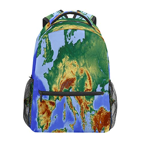 Map Central Europe Drawing Business Laptop Backpack Travel Hiking Camping Daypack College Bookbag Large Diaper Bag Doctor Bag School Backpack Water Resistant Anti-Theft for Women&Men