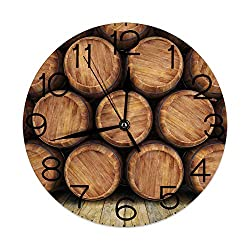 GULTMEE Silent Wall Clock Non Ticking 10 inch Quartz Round Decorative, Wall of Wooden Barrels Wine Stack Storage Gallon Antique Vintage Container Rustic Design