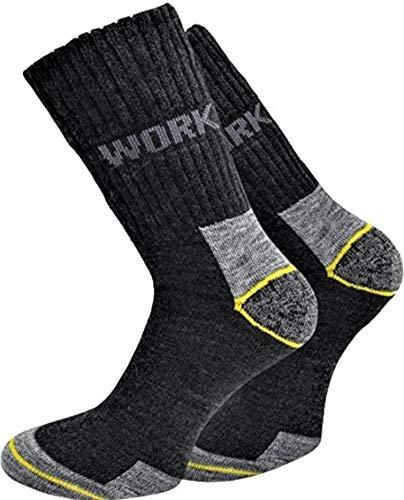 Herren Damen Schutz Strümpfe Arbeit Socken Work normal lang 6 Paar, 43-46, Grau