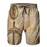 saletopk Bañador De para Hombre Pantalones Playa Shorts, Volante Brújula Mapa Vintage Configuración Cámara del capitán Búsqueda del Tesoro Imprimir Secado Rápido Ligero Baño Cortos M