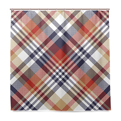 Douchegordijn met haak polyester tartan patroon stof badkamer set 72 x 72 inch zeemeermin, waterdicht voor dagelijks gebruik