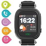 Kinder GPS-Smartwatch, Touchscreen-Unterstützung, SOS-Anruf, Voice-Chat, GPS, LBS WiFi-Aktivitätstracker für 3–14 Jahre, Jungen und Mädchen (Q90-Black)