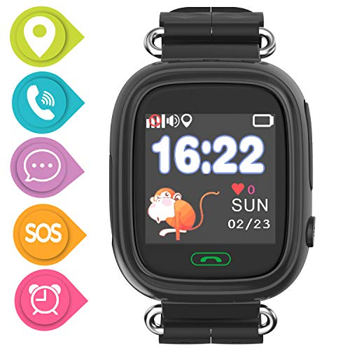 SmartWatch Teléfono Niño Niña,Pantalla táctil Reloj Inteligente Localizador GPS LBS WiFi con Chat de Voz SOS Cámara Despertador Reloj Digital Watch Regalo Estudiante Compatibles con iOS Android,Negro