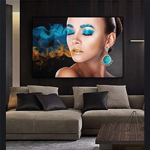 Mode mooie vrouw gezicht canvas schilderij poster en prints Scandinavische wall art foto moderne woonkamer decoratie frameloze schilderij 20x30cm