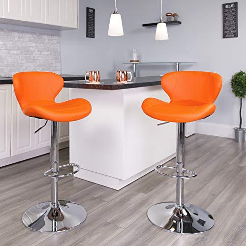 Flash Furniture Contemporary Orange Vinyl Adjustable Height Barstool with Chrome Base