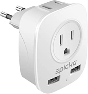European Travel Plug Adapter - EPICKA International Wall Charger Power Plug Adapter with 2.4A Dual USB Charging Ports, 4 in 1 AC Socket for USA to Germany Spain Most of Europe - Type C (Grey + White)
