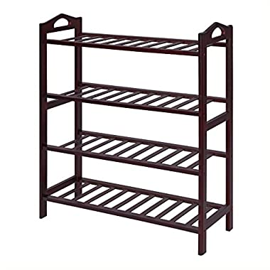 SONGMICS 100% Bamboo 4-Tier Shoe Rack 30 Inch Wide Entryway Shoe Shelf Storage Organizer, 26.6  L x 10.4  W x 29.4  H,Holds Up to 16 Pairs,Ideal for Hallway Bathroom Garden Brown ULBS94Z