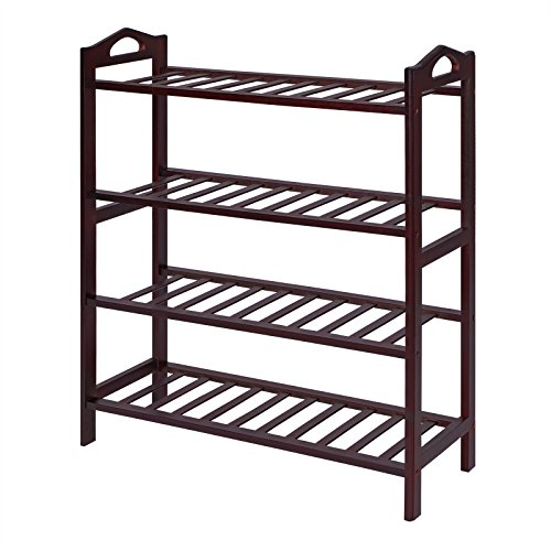 SONGMICS 100 Bamboo 4-Tier Rack 30 Inch Wide Entryway Shoe Shelf Storage Organizer Holds Up to 16 PairsIdeal for Hallway Bathroom Garden Expresso Brown