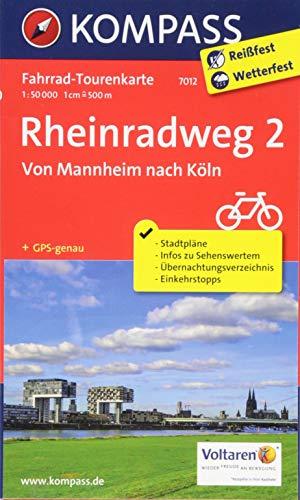 Fahrrad-Tourenkarte Rheinradweg 2, Von Mannheim nach Köln: Fahrrad-Tourenkarte. GPS-genau. 1:50000. (KOMPASS-Fahrrad-Tourenkarten, Band 7012)