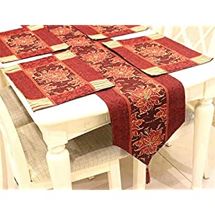 ZHUOXBU North American Simple Style Red and Golden Rectangular Tablecloths, Placemat