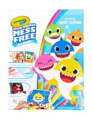 Crayola Color Wonder Baby Shark Coloring Pages, Mess Free Coloring, Gift for Kids, Age 3, 4, 5, 6