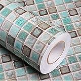Mosaic Adhesive Wallpaper Thick Self-Adhesive Removable Peel and Stick Wallpaper Matte Teal Green Bathroom Kitchen Wallpaper Countertop Vinyl Film Mosaic Paper 15.7