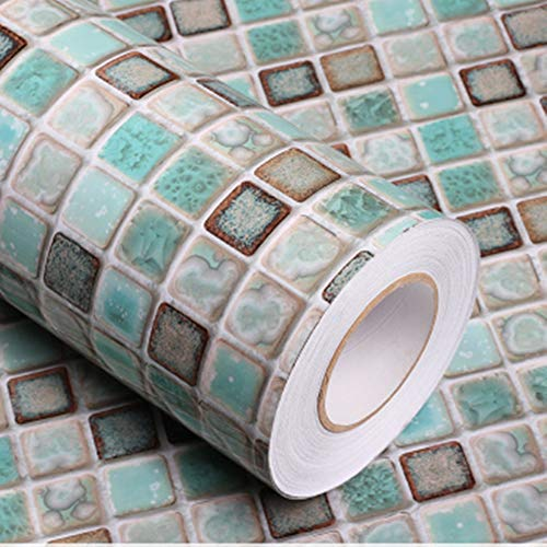 Mosaic Adhesive Paper Thick Self-Adhesive Removable Peel and Stick Wallpaper Matte Bathroom Wallpaper Kitchen Counter Paper Shelf Paper Countertop Vinyl Film Mosaic Wallpaper 16'x78.7'