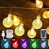 30 LEDs Bunte LED Lichterkette Außen Batterie & USB betrieben, Wasserdicht Kristall Kugel...