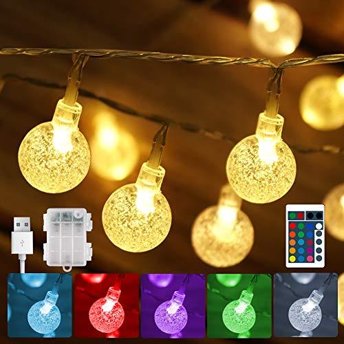 30 LEDs Bunte LED Lichterkette Außen Batterie & USB betrieben, Wasserdicht Kristall Kugeln Lichterkette Bunt, Timer Merk Funktion, beleuchtung außen für Garten Kinderzimmer Romantische gemütliche Deko