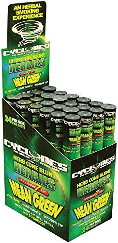 24 Cyclones Herbies Mean Green Pre Rolled Cones Non Tobacco Wooden Dank 7 Tip