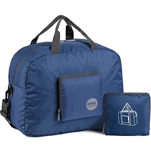 """WANDF 16"""" Foldable Duffle Bag 20L for Travel Gym Sports Lightweight Luggage Duffel 15 Color Choices (Navy Blue)"""