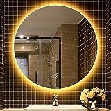 Espejo Espejo de maquillaje redondo, Espejo de luz LED de dos colores para baño, Espejo de tocador a prueba de agua montado en la pared, Espejo decorativo / para ducha / afeitado, Se puede usar en dor