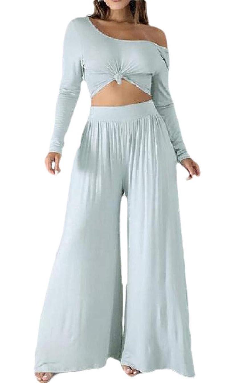 ジェーンオースティン負担傑出した女性セクシーな2ピースセット衣装クロップトップとパラッツォパンツジャンプスーツ