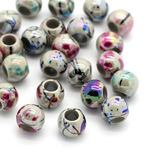 HOUSWEETY 500 Mix Rund Blumen Acryl Spacer Perlen Beads Zwischenperlen 8mm
