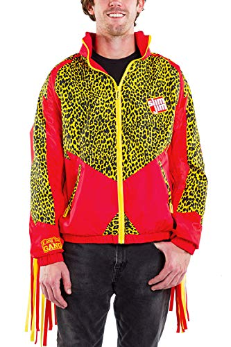 Tipsy Elves x Slim Jim Leopard Print Men's Fringe Windbreaker Jacket Size Medium Red and Yellow