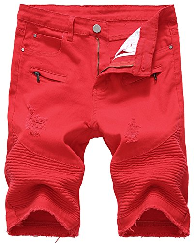 chouyatou Men's Cool Stylish Wrinkle Performance Slim Ripped Denim Shorts (31, Red)
