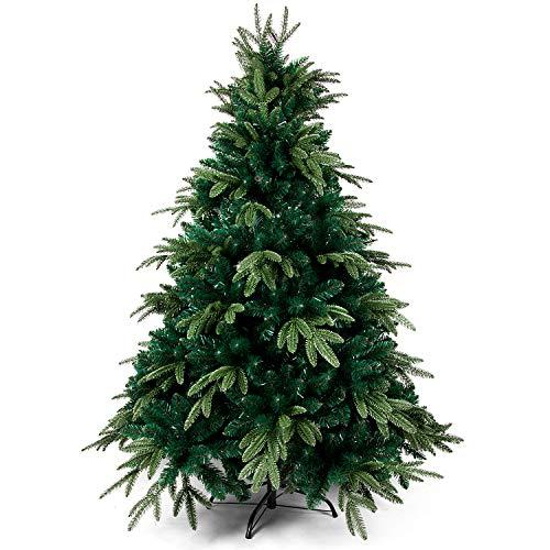 OZAVO Albero di Natale Artificiale Verde 120 cm,600 Rami,PVC Ago di Pino Effetto Realistico,Decorazione di Natale,Base Metallica