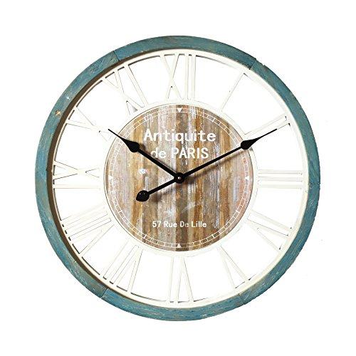Möbel Rebecca wandklok, vintage stijl, rond, keuken, woonkamer van hout, diameter 60 cm (Re6141)
