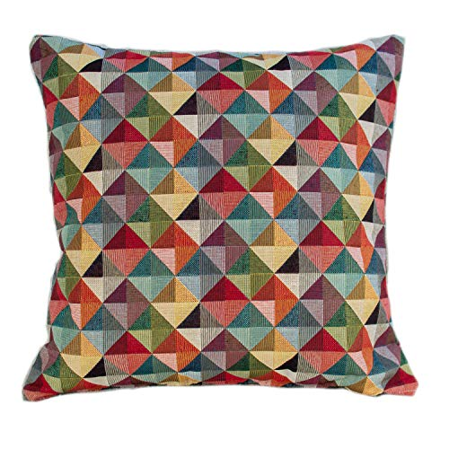 Geometric Tapestry Double Sided Cushion Cover. Multicoloured Red Blue Green Yellow Triangular Harlequin Patten. 17'x17' Square Pillow Case. Kilim Style Fabric